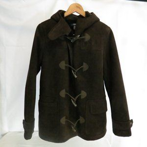 Chaps Women's S Toggle Coat Faux Suede Hooded